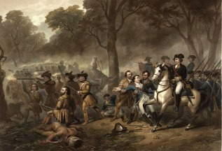Washington rallying troops  at the Battle of Monongahela